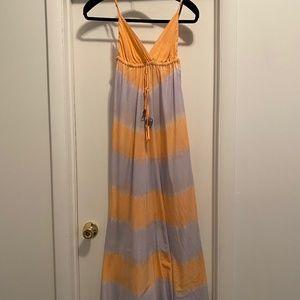 Gypsy 05 Silk Purple and Orange Maxi Dress, silk
